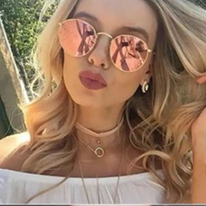 Pink Lens and Gold Tone Frame Round Sunglasses